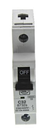 MK Electric 32A 1 Pole Type C Miniature Circuit Breaker Sentry 8732S, 230V