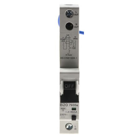 MK Electric 1 Pole Type B Residual Current Circuit Breaker with Overload Protection, 20A 7935S, 6 kA