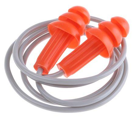 Kimberly Clark Reusable Orange Thermoplastic Corded Ear Plugs, 25dB, 100 Pairs