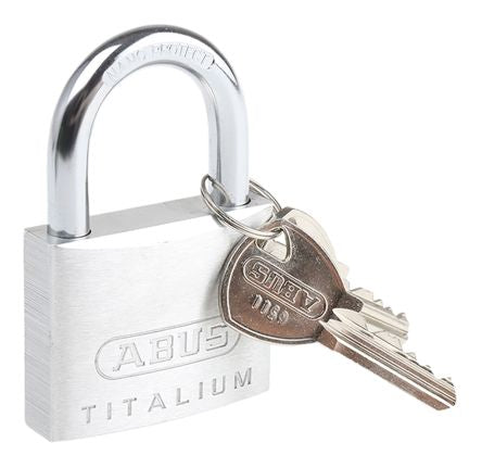 Photo of ABUS Padlock 50mm Titalium Key Weatherproof Padlocks 8mm x 37mm Shackle Grey