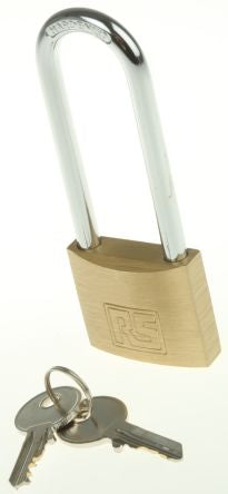 Photo of Padlock 40mm Brass Key Padlocks 6mm x 63mm Shackle Size Indoor, Outdoor Locks