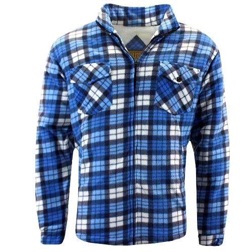 Mens Work Shirt Warm Hooded Overshirt Sizes M to 3XL GAME Check Sherpa Shirts UK