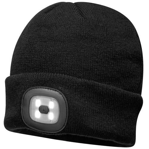 Portwest LED Beanie, Black Work Hat with Light, Rechargeable Battery