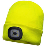 LED Beanie Hat Front & Rear Lights Head Torch Cyclists Walkers Rechargeable Warm