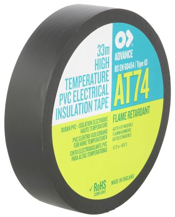 Photo of Advance Tapes AT74 Black Electrical Tape 19mm x 33m 193608 PVC Rubber Resin BS 9500V