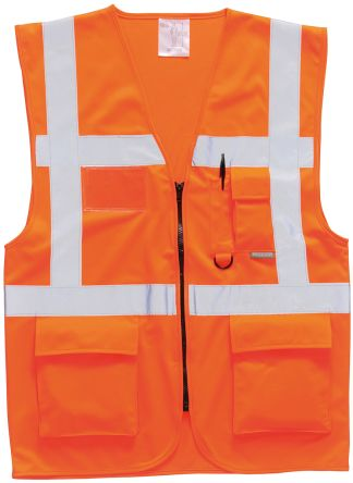 Photo of Unisex Orange Hi Vis Vest Executive Medium Hi-Vis Berlin Vests Waistcoat EN20471 Class 2