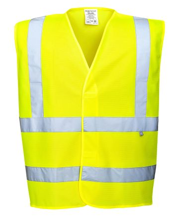 Photo of Unisex Yellow Hi-Vis Carbon Fibre Anti-static Flame Retardant XXL to XXXL Waistcoats EN ISO14116