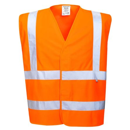 Photo of Unisex Orange Hi-Vis Carbon Fibre Anti-static Flame Retardant L to XL Waistcoats EN ISO14116