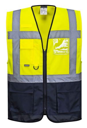 Photo of Unisex Yellow/Navy Hi Vis Two Tone Executive Warsaw Waistcoat Small Size EN20471 Class 1