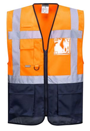 Photo of Unisex Orange/Navy Hi Vis Two Tone Executive Hi-Vis Warsaw Waistcoats Medium EN20471 Class 1