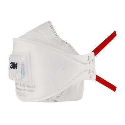 Photo of 3M™ Aura™ Disposable Face Mask FFP3 Valved Respirator Masks 9332+GEN3SP Box of 5
