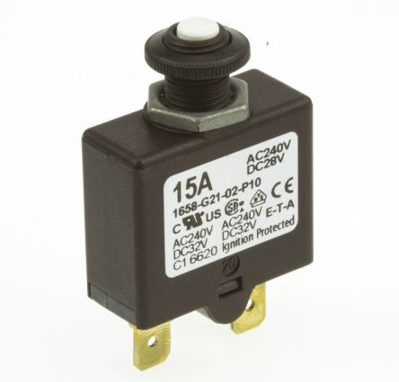 ETA 1658 1 Pole Thermal Magnetic Circuit Breaker 1658-G21-02-P10-15A