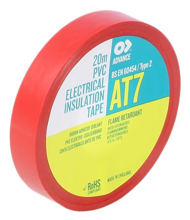 Photo of Advance Tapes AT7 Red Electrical Tape 19mm x 20m 211241 PVC Rubber Resin BS EN 8000V