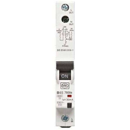 MK Electric 1 Pole Type B Residual Current Circuit Breaker with Overload Protection, 45A 7938S, 6 kA