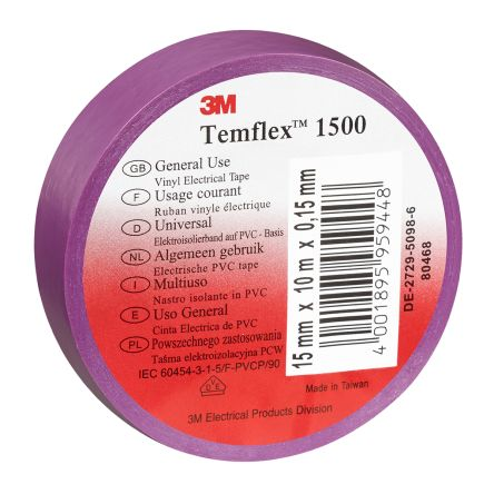 Photo of 3M Temflex 1500 Purple Electrical Tape 10 Rolls 15mm x 10m 80468 PVC 0.15mm Rubber 6000V