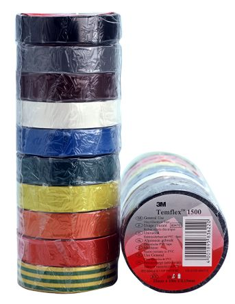 Photo of 3M Temflex 1500 Assorted Electrical Tape 10 Rolls 15mm x 10m DE-2729-5138-0 0.15mm Rubber 6000V