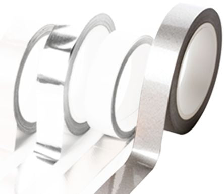 Photo of Hi-Bond HB 750 Conductive Aluminium Tape 0.12mm W.25mm L.30m Thermosetting Acrylic +130°C / -30°C