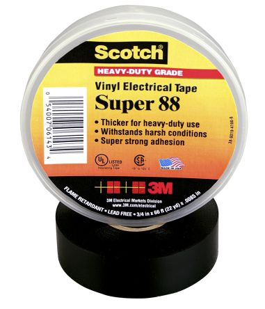 Photo of 3M Scotch Super 88 Black Electrical Insulation Tape 19mm x 20m Polyvinyl Chloride Rubber 3000V