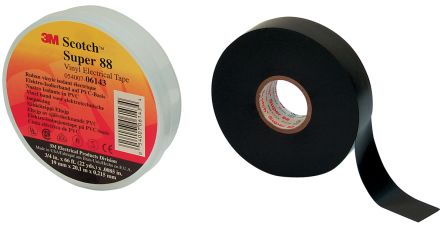 Photo of 3M Scotch Super 88 Black Electrical Insulation Tape 50mm x 33m Polyvinyl Chloride 0.21mm 3000V