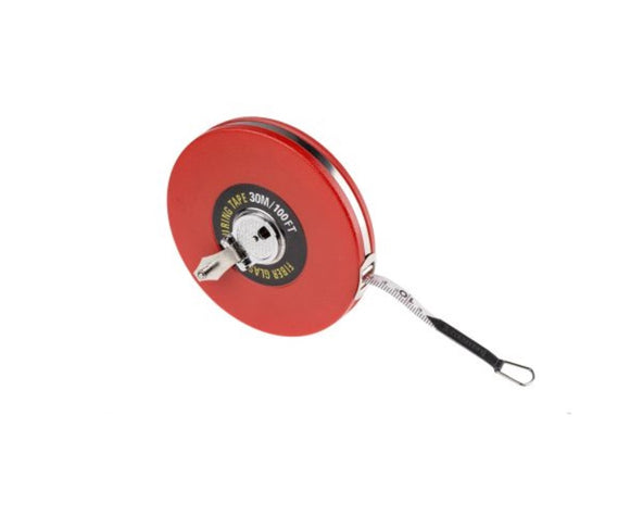photo of 30m (100ft) Cloth Tape Measure, Fibre Glass Measuring Tapes, Class III Metric & Imperial