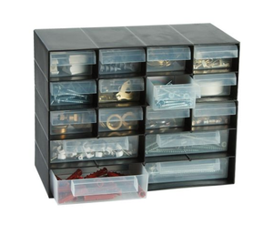 photo of RS PRO Black, PP 16 Drawer Unit, 210mm x 270mm x 130mm - Small Parts / Component Storage
