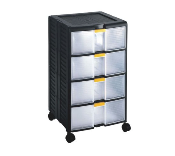 photo of RS PRO Black, PP 4 Drawer Storage Unit, 629mm x 391mm x 390mm Modular Parts Storage