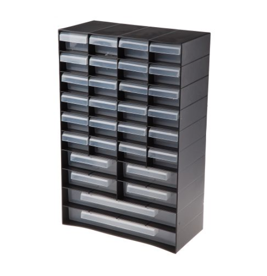 photo of RS PRO Black Plastic 30 Drawer Unit - Small Parts Storage Cabinet
