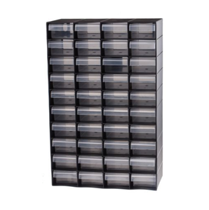 photo 1 of RS PRO Black, Plastic 40 Drawer Unit - Small Parts Storage Cabinet