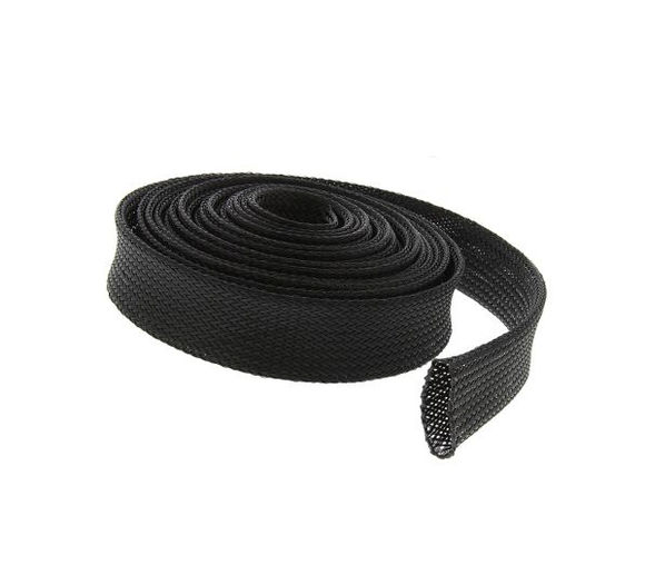 photo 1 of RS PRO Expandable Braided PET Black Cable Sleeve, 30mm Diameter, 5m Length