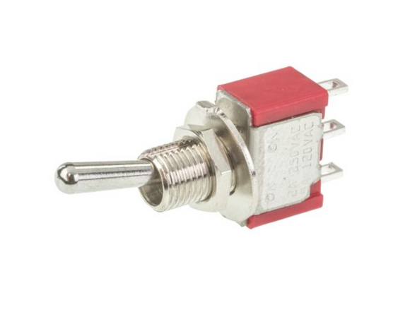 photo 1 of SPDT Toggle Switch, Miniature Panel Mount Latching Switches 2A, Single Pole Double Throw