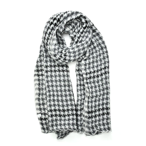 Woman Winter Scarf White Super Soft Warm Long Classic Houndstooth Print Scarves