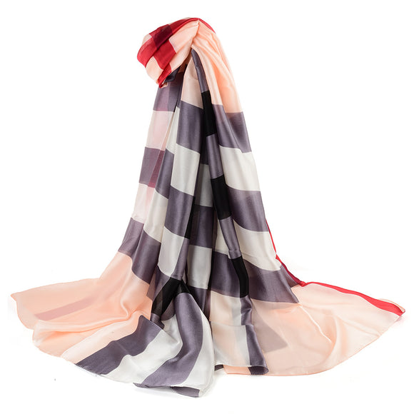 Ladies Scarf Long Soft BEIGE Colour Stripe Pattern Scarves Faux Cashmere UK