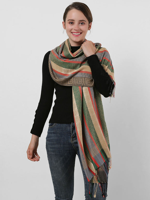 Ladies Shawl Winter Long Scarf Wrap Warm Soft Cotton Scarves Tassels Colourful