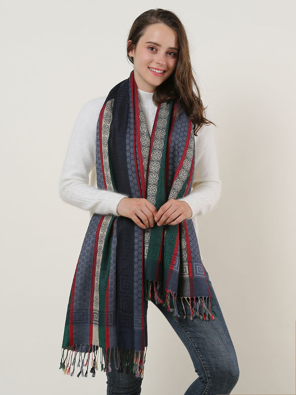 Warm Winter Scarf Navy Long Ladies Scarves Soft Wrap Shawl Colourful Tassels