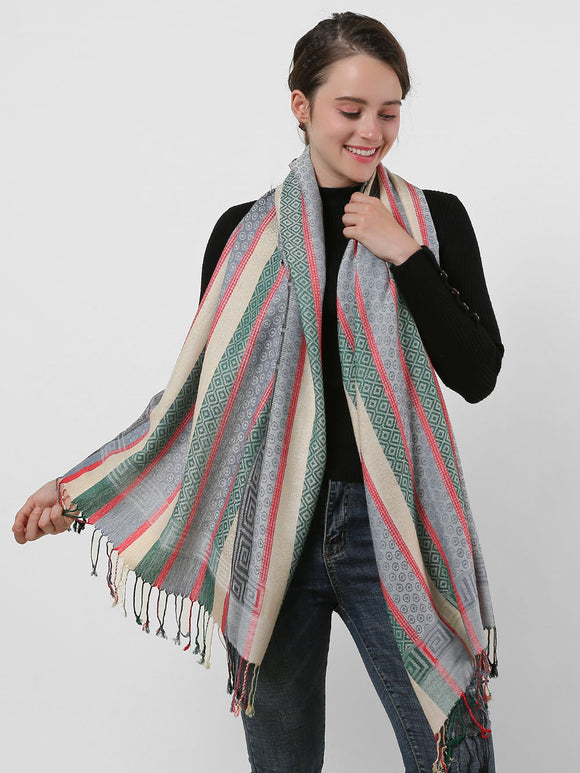 Woman Shawl Scarf Wrap Soft Warm Winter Cotton Colourful Long Scarves Tassels