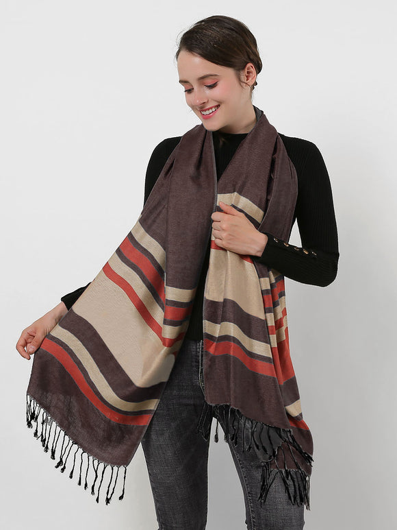 Woman Long Scarf Coffee Colour Cotton Shawl Wrap Stripe Scarves With Tassels