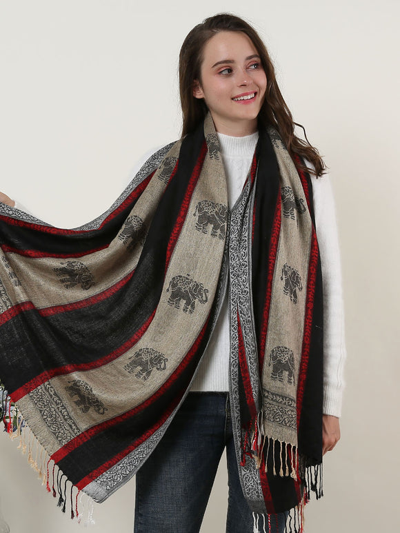 Ladies Winter Shawl Wrap Scarf Soft Warm Black Elephant Pattern Scarves Tassels