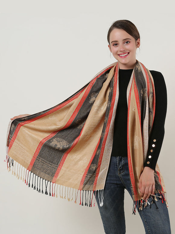 Woman Scarf Long Camel Colour Cotton Scarves Elephant Pattern With Tassels Shawl