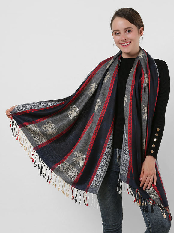 Woman Long Scarf Wrap Shawl Navy Soft Warm Elephant Pattern Scarves Tassels