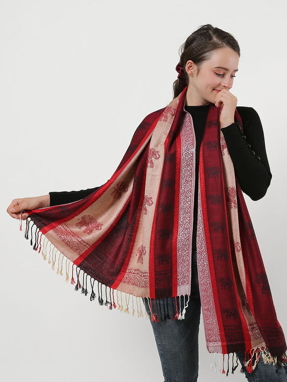 Woman Long Scarf Red Elephant Pattern Cotton Scarves Shawl Wrap With Tassels