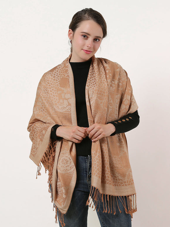 Ladies Shawl Wrap Large Scarf Beige Soft Cotton Retro Pattern Scarves Tassels