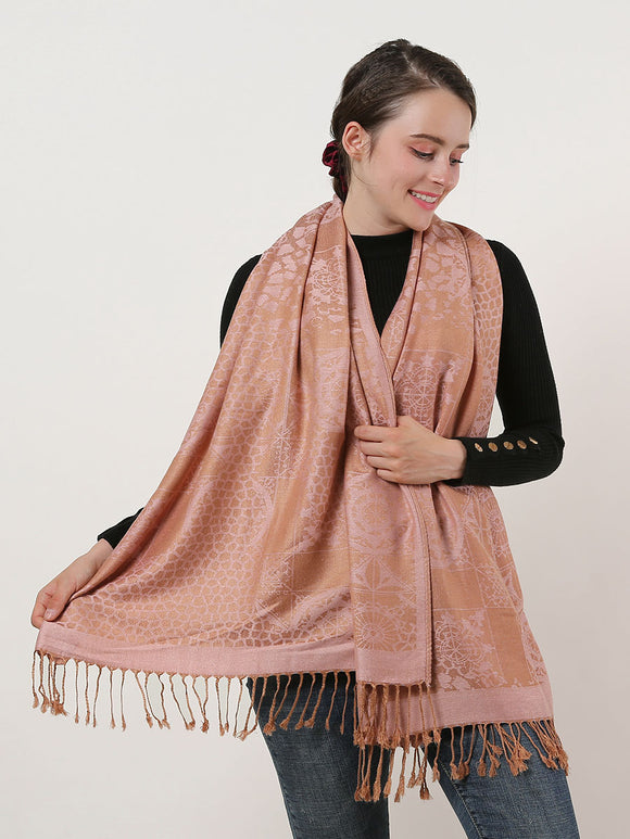 Woman Long Scarf Pink Shawl Wrap Cotton Scarves Retro Pattern With Tassels