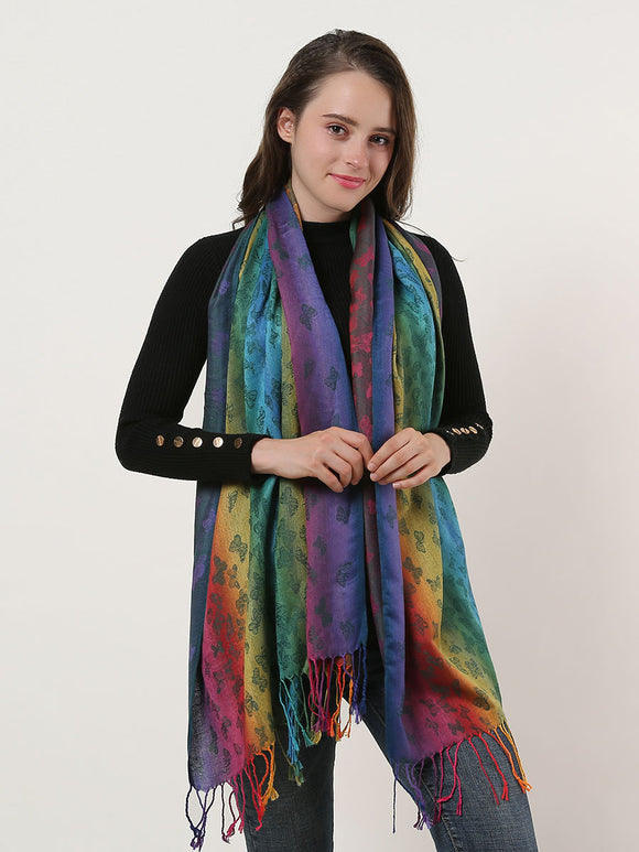 Ladies Shawl Scarf Wrap Soft Rainbow Colour Butterfly Print Long Scarves Tassels