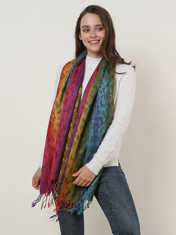 Woman Rainbow Shawl Wrap Scarf Butterfly Pattern Soft Cotton Scarves Tassels