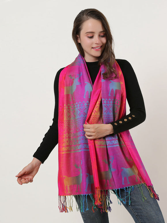 Ladies Long Scarf Shawl Wrap Soft Rainbow Colour Elk Pattern Scarves Tassels
