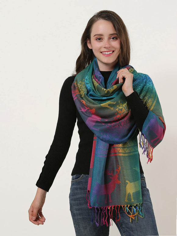 Woman Scarf Wrap Shawl Warm Soft Rainbow Colour Elk Pattern Scarves With Tassels