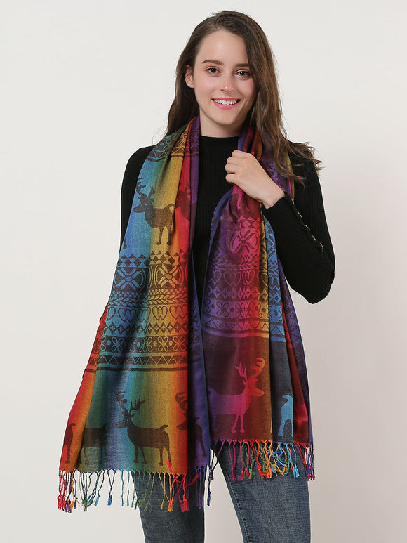 Woman Scarf Shawl Wrap Soft Rainbow Colour Elk Pattern Scarves With Tassels