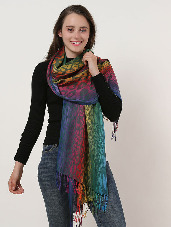 Womans Shawl Wrap Scarf Soft Cotton Rainbow Color Leopard Print Scarves Tassels