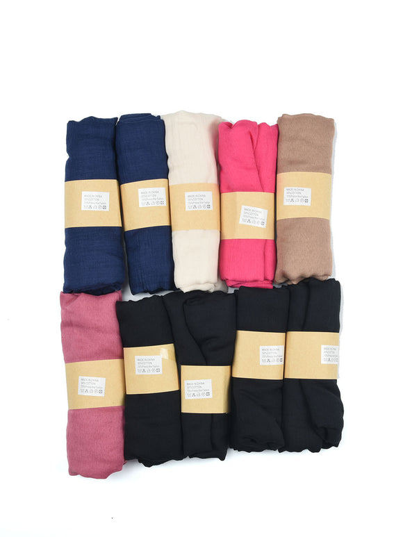 Ladies Scarf Long Soft 10 x Assorted Plain Colour Thin Scarves Faux Cashmere UK
