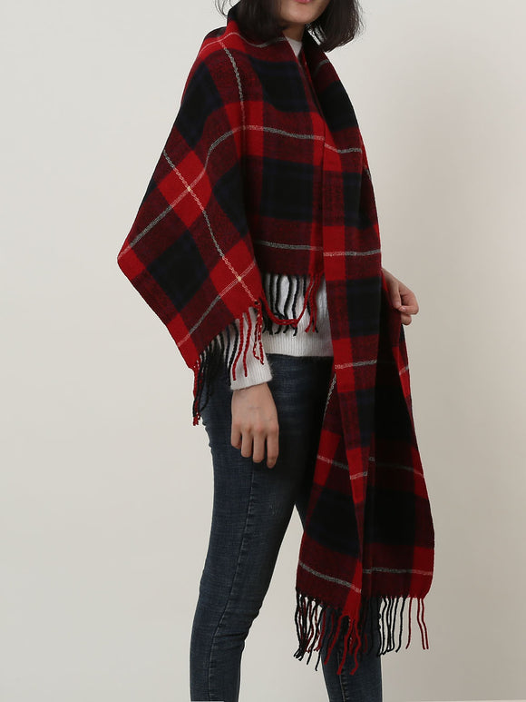 Woman's Winter Scarf Shawl Soft Warm Red Lattice Pattern Cotton Scarves Tassels
